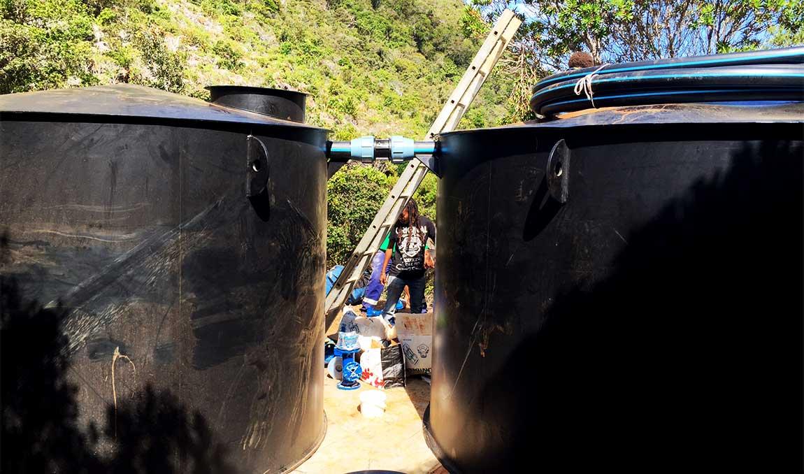pose de cuve pour mise en eau de captage pierref